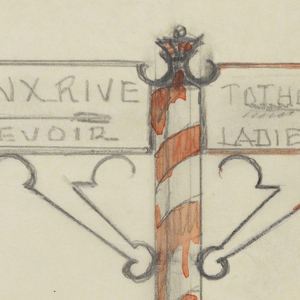 Design for directional signpost to be executed in iron, the base with diagonal orange and white stripes. Pointing left, a sign panel inscribed: BRONX RIVER / RESERVOIR; pointing right, a sign panel inscribed: TO THE PARK AND / LADIES TOILET