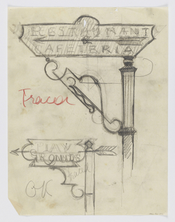 "Designs for signposts to be executed in iron. At upper center, a signpost design for a restaurant with an arrow pointing left, the words ""RESTAURANT / & / CAFETERIA"" connected to the post via an elaborate bracket. At lower left, a signpost design for a playground, with an arrow pointing left, the word ""PLAY / GROUNDS"" connected to the post via a curving bracket. Additional illegible inscriptions throughout."