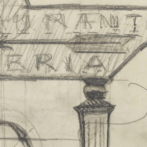 """Designs for signposts to be executed in iron. At upper center, a signpost design for a restaurant with an arrow pointing left, the words """"RESTAURANT / & / CAFETERIA"""" connected to the post via an elaborate bracket. At lower left, a signpost design for a playground, with an arrow pointing left, the word """"PLAY / GROUNDS"""" connected to the post via a curving bracket. Additional illegible inscriptions throughout."""