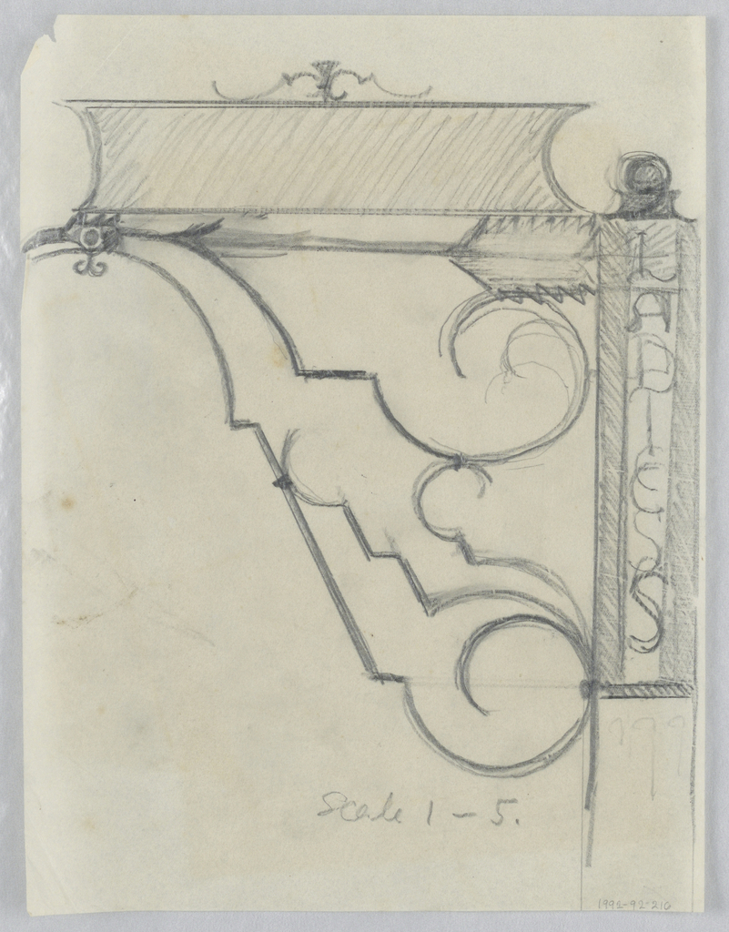 "Design for signpost to be executed in iron, an arrow pointing left with the sign panel connected to the post by a curving ornamental bracket. The words ""LADIES"" appears vertically on the post."