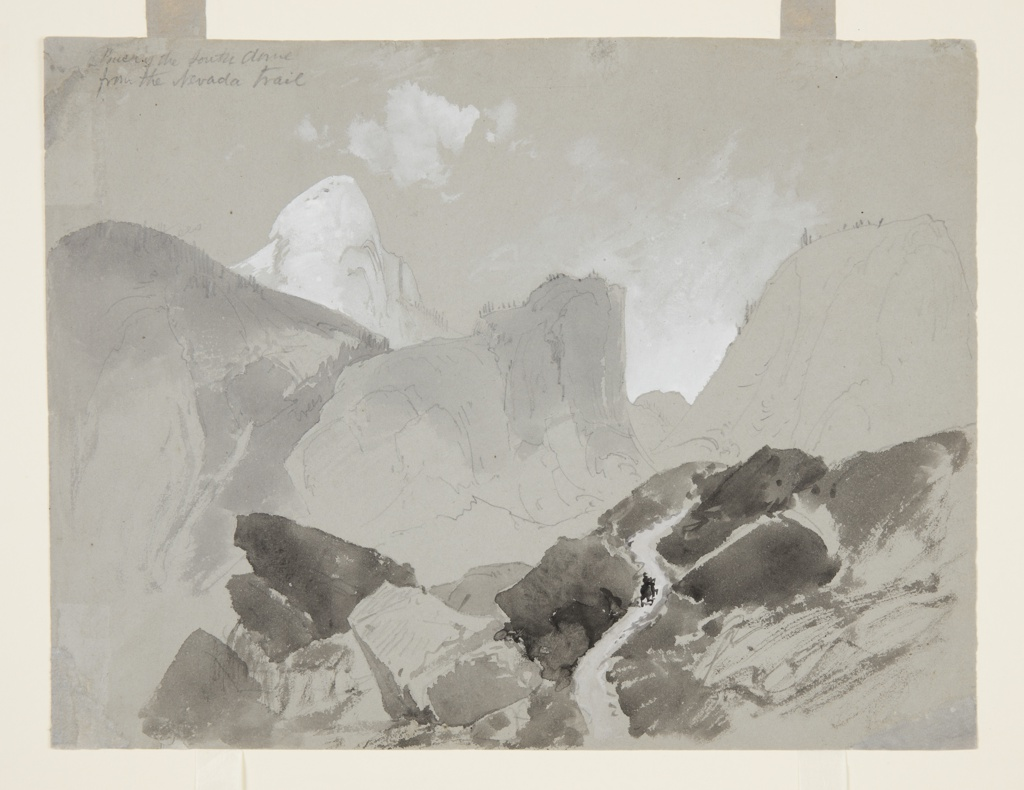Horizontal view of three peaks in the middle ground with snow-covered Dome in the left background. A horseman is seen upon a trail through a rugged promontory foreground. Verso: view of a snow-covered mountain peak in the left background; a rocky summit is in the right foreground.