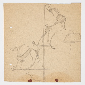 Design for a lamp to be executed in metal, the lamp stand adorned with two ibex figures. At left, a standing ibex facing left turns its head toward the right, looking towards the ibex above, who stands on the curved element connecting the stand to the lamp. Below, the light bulb covered with a shade and a hanging chain.