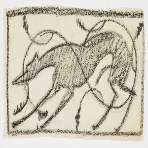 Within horizontal rectangular frame, a crouching hound facing left. Ornamental swirls connect the animal figure to the frame.