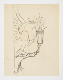 Design for a wall-mounted sconce to be executed in metal. A bird with raised outstretched wings, facing right, at the base of the fixture, its tail feathers attached to the mount and its feet and beak attached to the glass lantern at right.