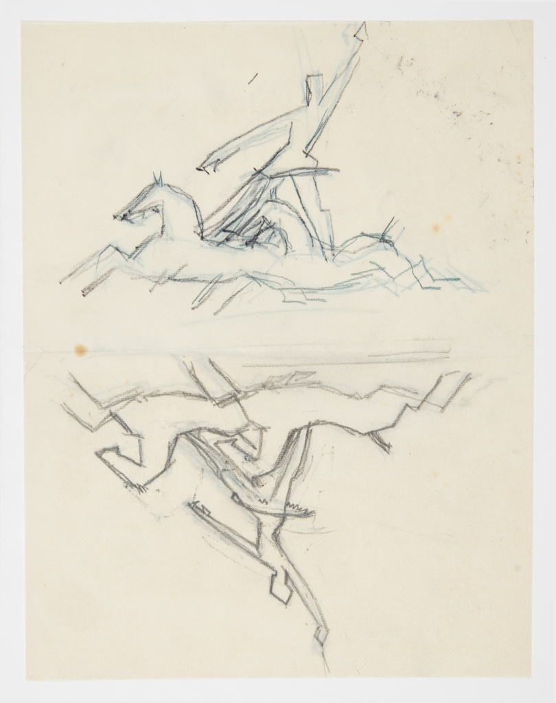 Above, a female figure, likely a circus performer, stands with her feet on the backs of two separate running horses, her left arm raised. Below, the image above reflected. Verso: the same image in reverse, traced from the recto.