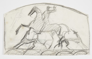 Design for a firescreen to be executed in iron. Figure of a man on horseback wearing a military hat and holding a raised bugle in his left hand. The horse, facing left, with its forelegs raised. On the ground below, two hounds, their heads pointed up. Ornamental border at bottom, rounded framing line at top.