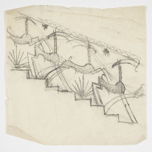 Design for a stair railing to be executed in metal featuring a line of running ibexes. Pointed plants at their feet, an ornamental bannister supported by their heads.