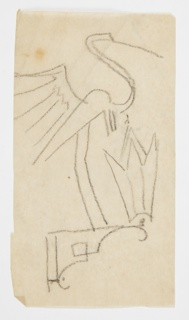 Design for a wall-mounted sconce to be executed in metal. Above the frame supporting the glass lantern, a large heron, the bird standing on long legs with its wings outstretched.