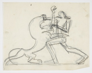 Sketchy drawing of the figure of Hercules fighting the Nemean Lion, his hands holding the jaws of the giant cat, who stands on his hind legs. Verso: the same image in reverse, traced in graphite from the recto.