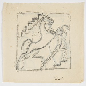Within a square frame, a male figure standing upon a set of steps raises his arm to the head of a bucking horse. Verso: same design in reverse, traced from the recto.