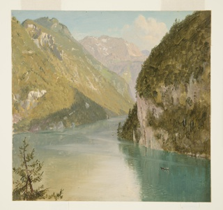Oil sketch of mountain lake in spectacular alpine setting. The lake around the Falkenstein shown from the northeastern shore. A tree top is in the left foreground. Two row boats are on the lake. The tops of the Jener and of the Fuhtensee Touern are shown.