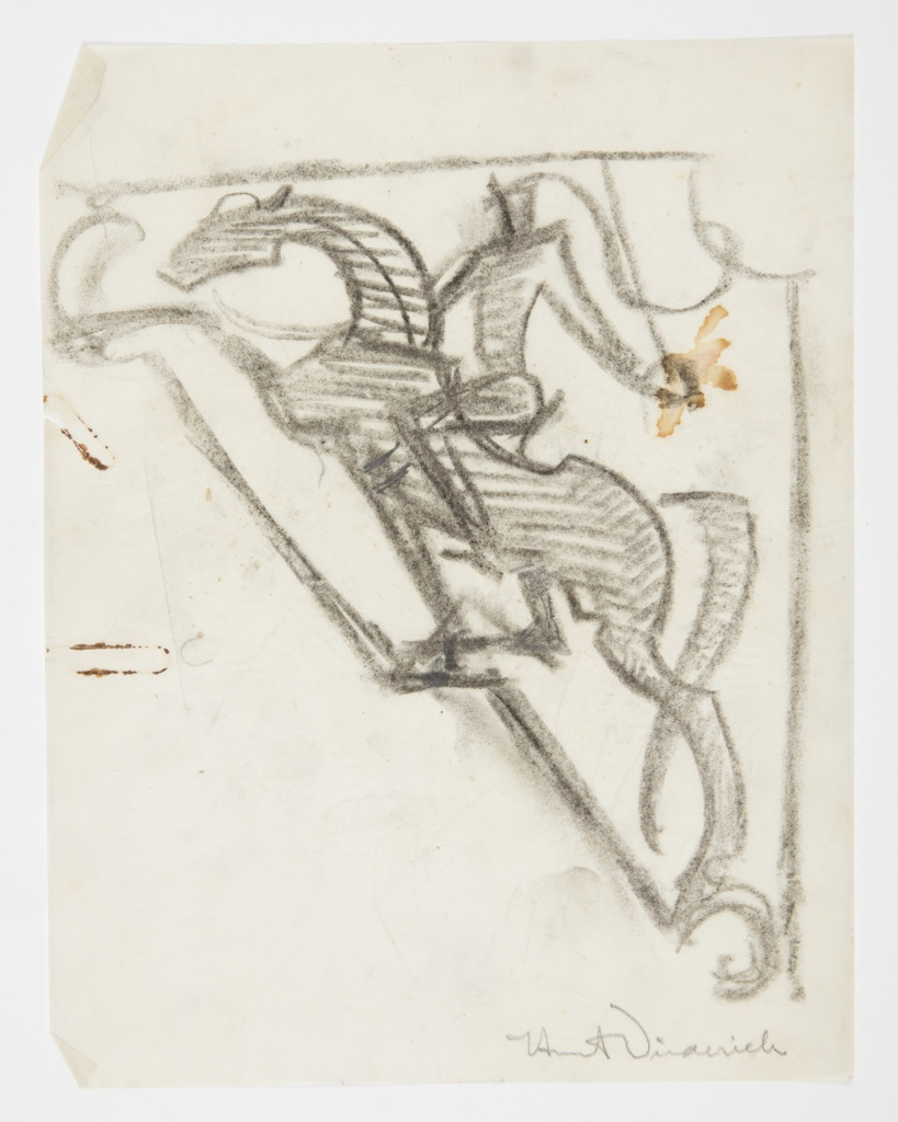 Design for a wall-mounted sign to be executed in metal featuring a male figure dressed as a knight on horseback.