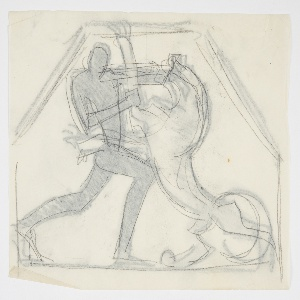 Outline drawing of the figure of Hercules fighting the Nemean Lion, his hands holding the jaw and arm of the giant cat, who stands on his hind legs. Verso: the same image in reverse, traced in graphite from the recto. Hexagonal framing lines.