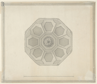 Horizontal format design for a ceiling for the octagon on the basement story of Carlton House in London, England. The wall is indicated outside. A rosette is in the center of an octagonal panel. It is surrounded by eight hexagons which have curved sides near the corners of the ceiling. Hexagonal panels are in the hexagons. Below is the scale. Elaborate framing at the edges. Something has been erased in the lower right.