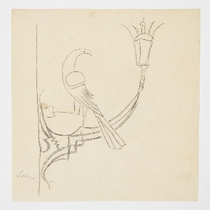 Design for a wall-mounted sconce to be executed in metal. A bird with a curved beak and long tail perches at the base of the fixture, one leg raised. A glass lantern at right.