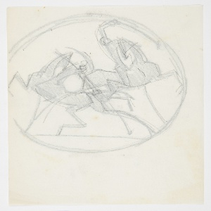Within a circular frame, two overlapping figures on horseback playing a game of polo.