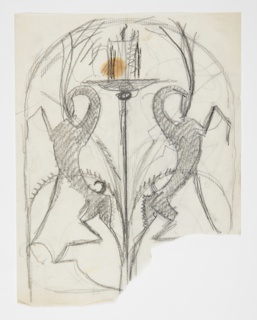 Design for a candelabrum to be executed in metal featuring ibexes standing on their hind legs with raised forelegs at either side of the burning candle. Curving framing line at top. Verso: same design in reverse, traced from recto.