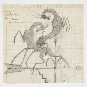 Design for a weathervane featuring two sparring ibex figures, each standing on their hind legs and preparing to lock horns. They stand upon the weathervane's arrow, which is attached to an ornamental stand. Sheet inscribed with measured grid and numerical notation. Verso: the same image in reverse (though not shaded in), traced from the recto.