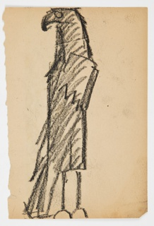 Sketch of a standing eagle, the bird's wings lowered at its side, facing left; Verso: ornamental decoration featuring an elongated hare.