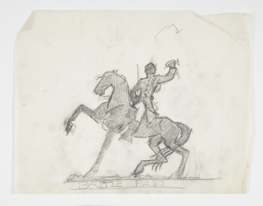 Rendered in silhouette, a male figure of a soldier on horseback. He wears a military coat and hat and raises a bugle in his left hand. The horse, facing left, raises its right leg. Slight indication of ground below.