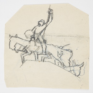 Upon the summit of a craggy hill, a figure of a soldier on horseback raises his right arm triumphantly. He wears a round helmet and carries a round shield. Additional horses follow up the hill. Hexagonal sheet. Verso: same design in reverse, traced from recto.