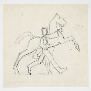 Outline drawing of a man walking side by side with a horse. The male figure wears a coat and hat and holds the bridle of the horse, who has raised its left foreleg. Verso: the same design in reverse, traced from the recto.