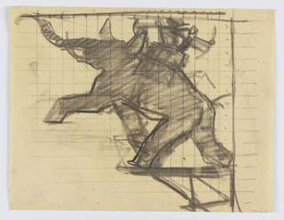 Design for a signpost to be executed in iron. Within a bracket, a parading elephant, its left leg raised from the ground. Upon its back, a saddle and possibly a figure of a rider.