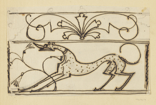 Design for ornamental grillwork to be executed in iron, a spotted hound in the lower frieze, abstract ornamentation above.
