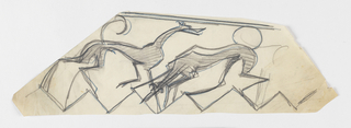 Design for ornamental stair rail to be executed in iron featuring a motif of greyhound figures standing upon a zigzagging edge.