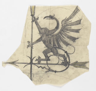 Design for a weathervane to be executed in iron. Upon the arrow stands a stylized rampant eagle viewed in profile, its wings extended behind it.