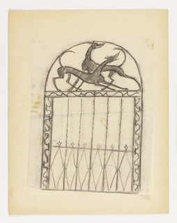 Design for a gate to be executed in iron, the top decoration composed of two overlapping hounds.