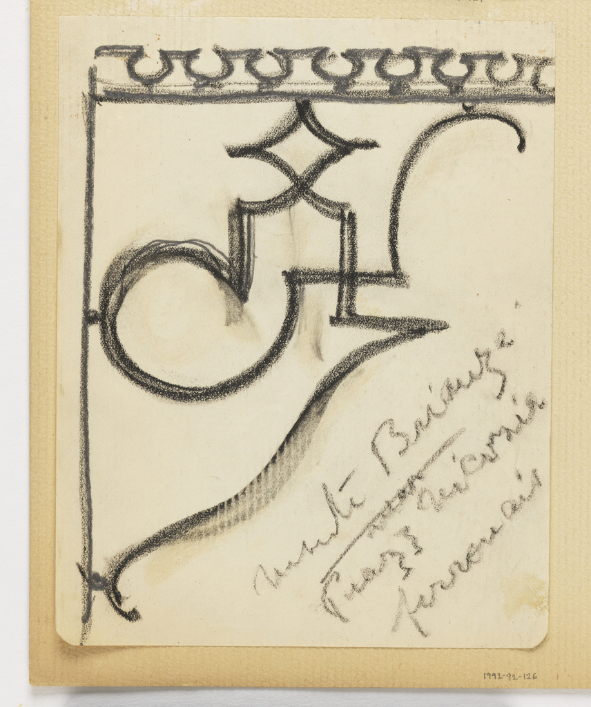 Detail of a design for a crenellated cornice. Charcoal inscription at lower right.