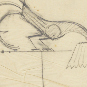 Design for a floorlamp with a figure of a rooster mounted on the top bar, lowering its head toward the shade at upper right.