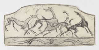 A design, possibly for a firescreen, intended to be executed in ironwork. Four figures of hounds in motion, their bodies partially overlapping. Below, an ornamental border.