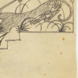 Design for a stair rail to be executed in iron, the decorative scheme composed of a panther chasing five ibex down the stairs.