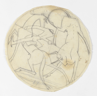 Design for a glazed earthenware plate that depicts a bullfighting scene. At left, a figure mounted on horseback stabs a bull with a lance, the bull charging the rear of the horse.