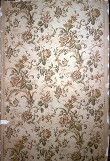 """Full width printed in four colors: blue, violet, yellow and neutral red, with vine pattern composed of roses, tube-roses, lilac, forget-me-not and camellias, with acanthus and other leaves. Color register marks on right margin; on left margin: """"The Camellia"""" / Sanitary and Washable."""