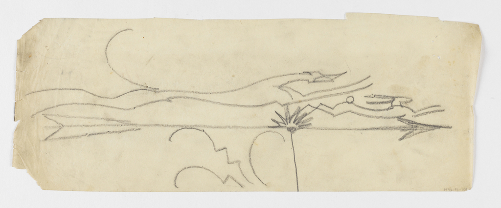 Design for a weathervane to be executed in iron. Upon the arrow, a figure of an elongated hound chasing a rabbit.