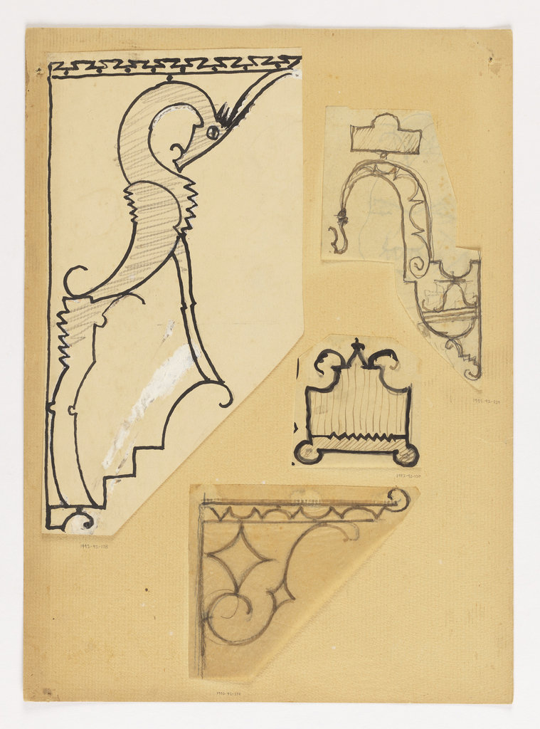 Design for a bracket to be executed in iron, decorative border at top. Within the bracket, a standing ibex, the animal's head bowed.