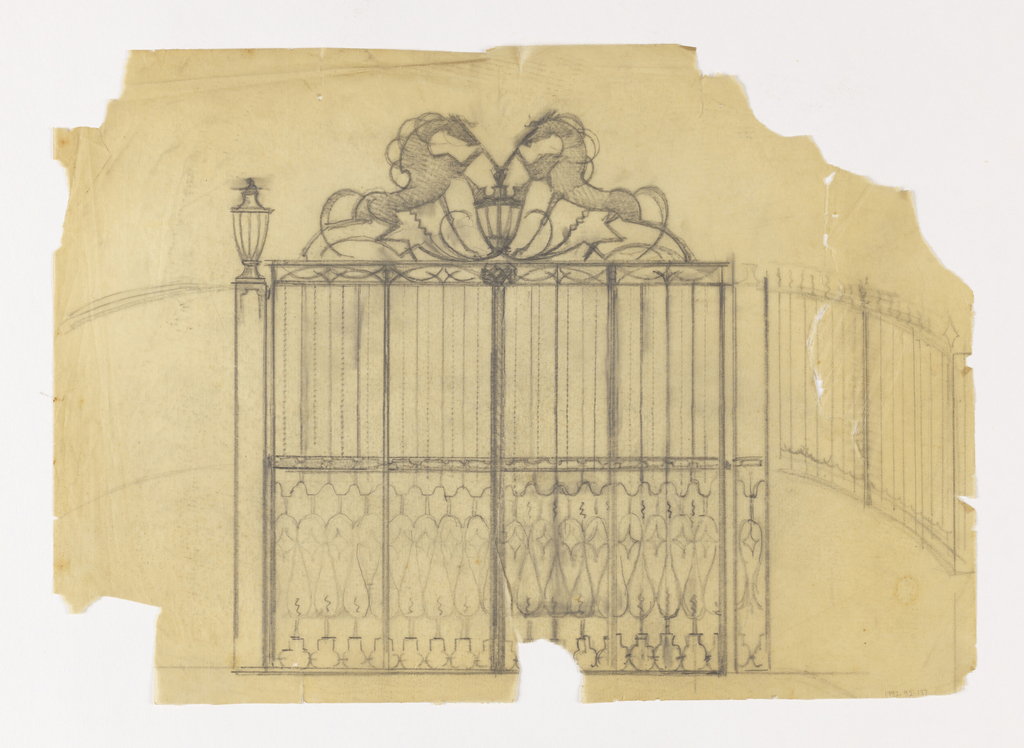 Design for a gate to be executed in iron, topped with two rearing horses touching front hooves at upper center. Below the horses, a lantern. Ornamental grillwork in lower frieze.