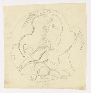 Design for a trivet executed in sheet metal depicting two rearing horses and a hare in a circular frame. The horse at left rears, its hind legs raised in the air, kicking the horse at right in the head.