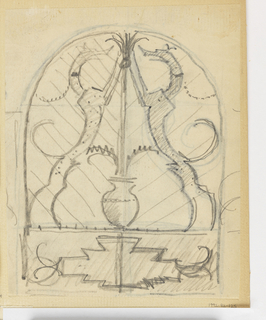 Arched symmetrical design for a gate or firescreen with two hounds facing each other, their paws meeting at upper center. Between them, a base. Below, geometric decoration.