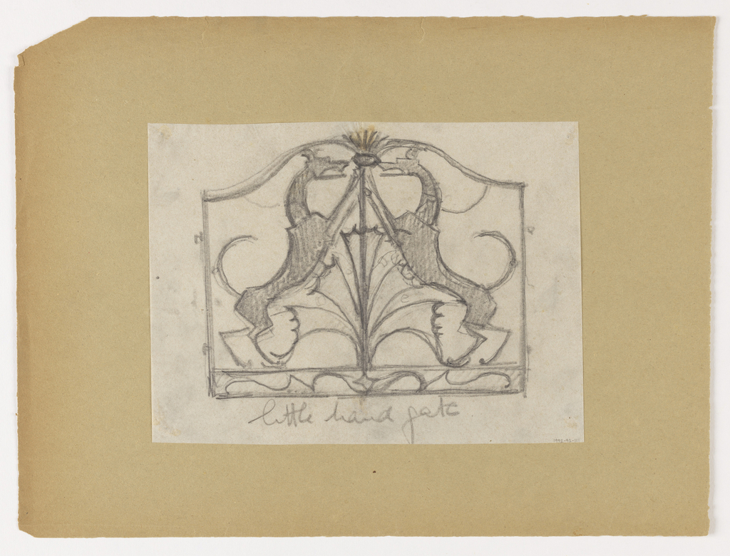 Design for a hand gate to be executed in iron, the ornamental scheme featuring two hounds facing towards each other, their legs meeting at upper center.