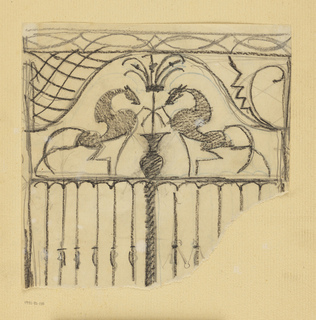 Design for a gate to be executed in iron, the decorative scheme made up of two horses facing each other at center, each with one leg raised.