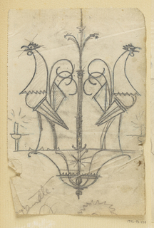 Design for a chandelier to be executed in iron. Two roosters facing away from each other form the main decoration. Candles burn at lower right and left sides.