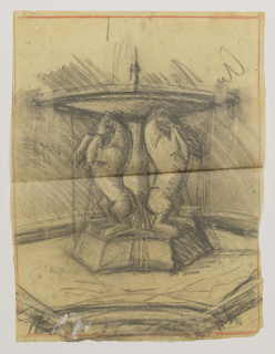 Sketch of a fountain. The base is sculpted with three rearing horses and a pool below.
