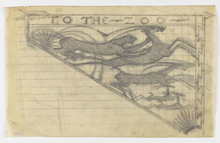 """Design for a zoo signpost to be executed in ironwork; ornamental motif at right edge, the words """"TO THE ZOO"""" at the top with a directional arrow pointing right. In the triangle below, a group of animals including a leopard chasing a gazelle; additional gazelles in the distance with geometric motifs."""