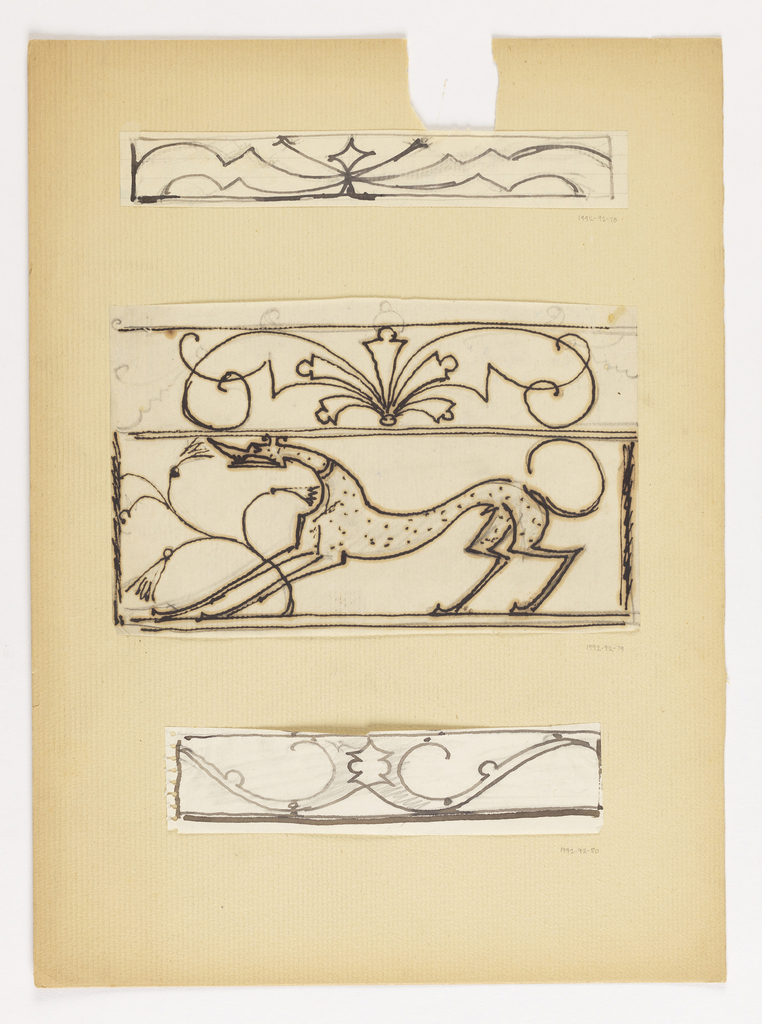 Thin horizontal design for ornamental scrollwork to be executed in iron.