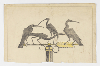 "Design for a signpost to be executed in ironwork. Atop the sign's arrow are four large black birds in various poses. On the tail of the arrow, the letters ""ABCDEF."" Below, vertically on the signpost, the letters ""RTO."""