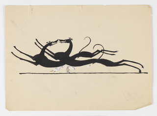 Drawn silhouette of two hounds running, their bodies elongated and limbs extended. They face towards each other, their bodies overlapping and their noses pressed against each other, tongues hanging out of their mouths.